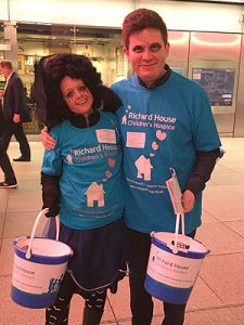 E14 solicitors practice manager Fiona morris and paralegal Ashley Kerr collecting at Canary Wharf