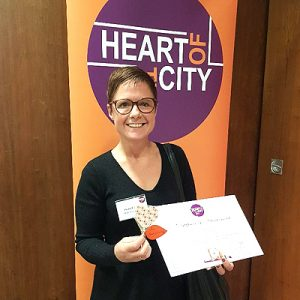 Fiona Morris Practice Manager receiving Heart of the City Award